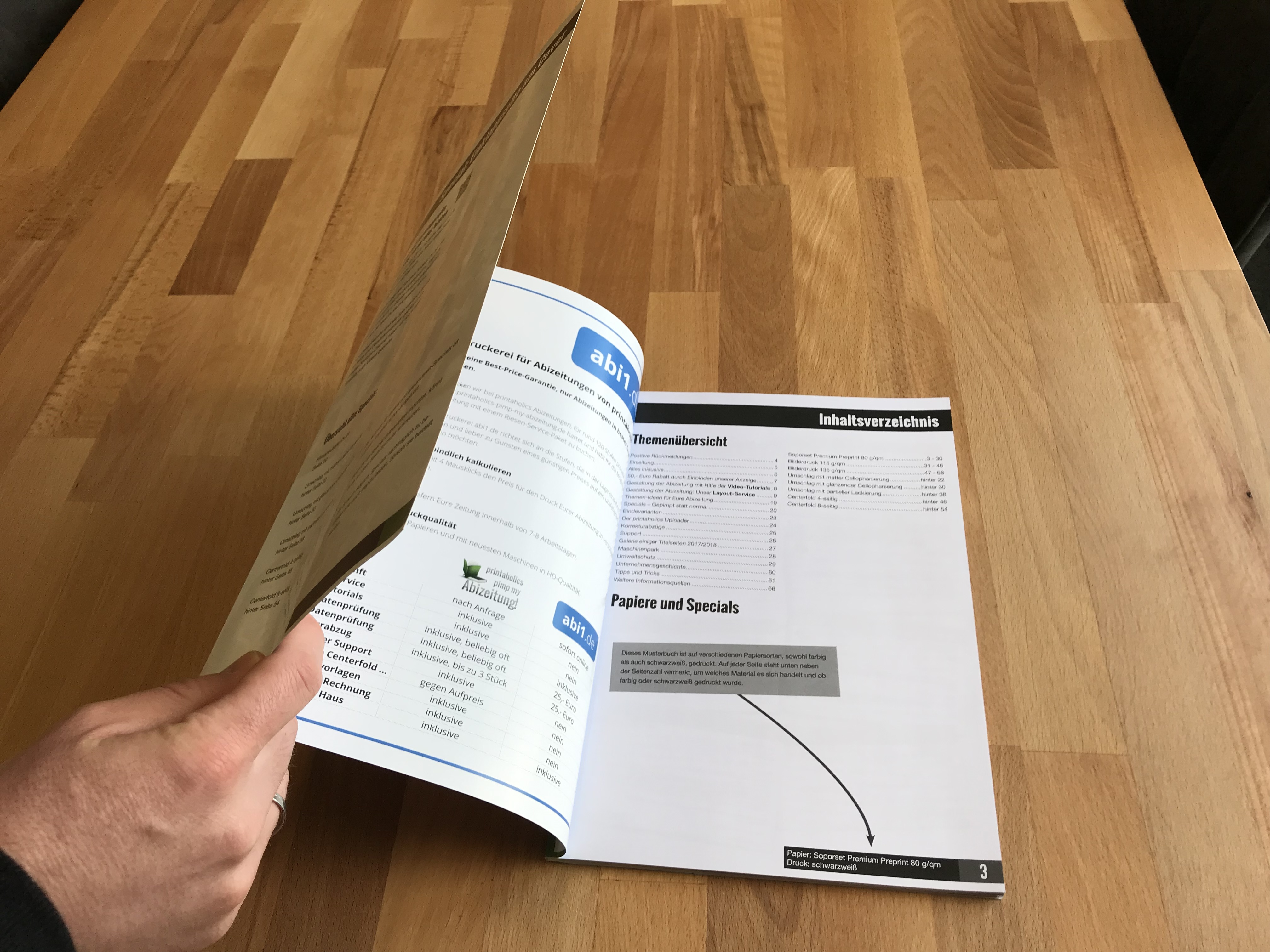 [Translate to Österreich:] Klappcover Umschlag vorne Abizeitung halb aufgeklappt