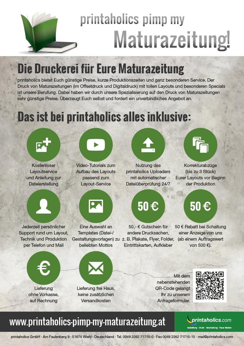 Anzeige printaholics Maturazeitung Rabatt